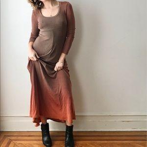 vintage scoop neck empire waist ombre maxi dress